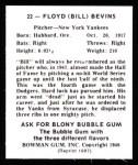 1948 Bowman Reprints #22  Floyd Bevens  Back Thumbnail