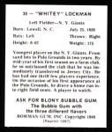 1948 Bowman Reprints #30  Whitey Lockman  Back Thumbnail