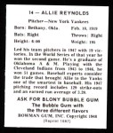 1948 Bowman Reprints #14  Allie Reynolds  Back Thumbnail