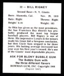 1948 Bowman Reprints #32  Bill Rigney  Back Thumbnail