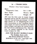 1948 Bowman Reprints #26  Frank Shea  Back Thumbnail