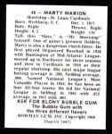 1948 Bowman Reprints #40  Marty Marion  Back Thumbnail