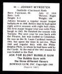 1948 Bowman Reprints #44  Johnny Wyrostek  Back Thumbnail
