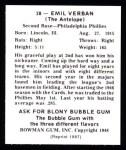 1948 Bowman Reprints #28  Emil Verban  Back Thumbnail