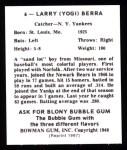 1948 Bowman Reprints #6  Yogi Berra  Back Thumbnail