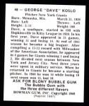 1948 Bowman Reprints #48  Dave Koslo  Back Thumbnail