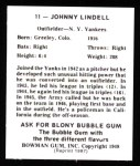 1948 Bowman Reprints #11  Johnny Lindell  Back Thumbnail