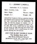 1948 Bowman Reprints #11  Johnny Lindell  Back Thumbnail