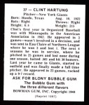 1948 Bowman Reprints #37  Clint Hartung  Back Thumbnail