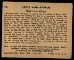 1941 Gum Inc. Uncle Sam Home Defense #38   Flight Instruction Back Thumbnail