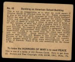 1938 Gum Inc. Horrors of War #48   Bombing an American School Building Back Thumbnail
