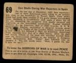 1938 Gum Inc. Horrors of War #69   Gun Shells Daring War Reporters in Spain Back Thumbnail