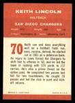 1963 Fleer #70  Keith Lincoln  Back Thumbnail