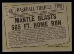 1961 Topps #406   -  Mickey Mantle Blasts 565 Ft Home Run Back Thumbnail