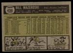 1961 Topps #430  Bill Mazeroski  Back Thumbnail