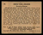 1941 Gum Inc. Uncle Sam Home Defense #54   Cavalry Charge Back Thumbnail