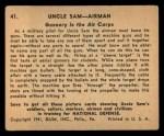 1941 Gum Inc. Uncle Sam Home Defense #41   Gunnery In The Air Corps Back Thumbnail