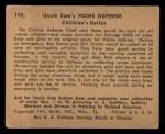1941 Gum Inc. Uncle Sam Home Defense #103   Children's Duties Back Thumbnail