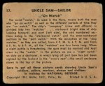 1941 Gum Inc. Uncle Sam Home Defense #17   On Watch Back Thumbnail