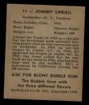 1948 Bowman #11  Johnny Lindell  Back Thumbnail