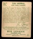1934 Goudey #61  Lou Gehrig  Back Thumbnail