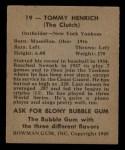 1948 Bowman #19  Tommy Henrich  Back Thumbnail
