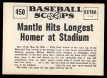 1961 Nu-Card Scoops #450   -   Mickey Mantle Longest homer Back Thumbnail
