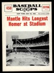 1961 Nu-Card Scoops #450   -   Mickey Mantle Longest homer Front Thumbnail