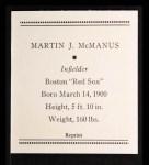 1933 Tattoo Orbit Reprints #47  Marty McManus  Back Thumbnail