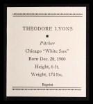 1933 Tattoo Orbit Reprints #43  Ted Lyons  Back Thumbnail