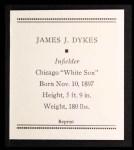 1933 Tattoo Orbit Reprints #16  Jimmy Dykes  Back Thumbnail
