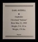 1933 Tattoo Orbit Reprints #3  Earl Averill  Back Thumbnail
