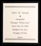 1933 Tattoo Orbit Reprints #25  George Haas  Back Thumbnail