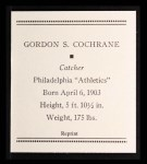 1933 Tattoo Orbit Reprints #12  Mickey Cochrane  Back Thumbnail
