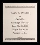 1933 Tattoo Orbit Reprints #58  Paul Waner  Back Thumbnail