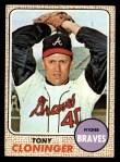 1968 Topps #93  Tony Cloninger  Front Thumbnail