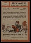 1962 Topps #58  Alex Karras  Back Thumbnail