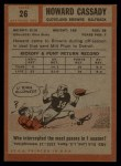 1962 Topps #26  Howard Cassady  Back Thumbnail