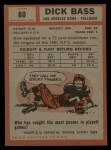 1962 Topps #80  Dick Bass  Back Thumbnail