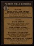 1973 Topps #12 BRN  -  Don Zimmer / Dave Garcia / Johnny Podres / Bob Skinner / Whitey Wietelemann Padres Leaders Back Thumbnail