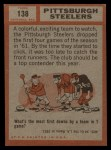 1962 Topps #138  Steelers Team  Back Thumbnail