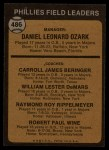 1973 Topps #486 ORA  -  Danny Ozark / Carroll Beringer / Billy De Mars / Ray Rippelmeyer / Bobby Wine Phillies Leaders Back Thumbnail