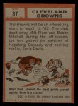 1962 Topps #37   Browns Team Back Thumbnail