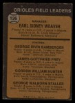1973 Topps #136 ^ORG^  -  Earl Weaver / George Bamberger / Jim Frey / Billy Hunter / George Staller Orioles Leaders Back Thumbnail