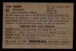 1952 Bowman Small #83  Joe Perry    Back Thumbnail