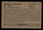 1952 Bowman Small #94   George Tarasovic Back Thumbnail