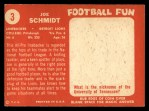 1958 Topps #3   Joe Schmidt Back Thumbnail