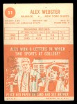1963 Topps #51  Alex Webster  Back Thumbnail