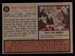 1962 Topps #63  Tony Cloninger  Back Thumbnail