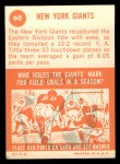 1963 Topps #60   Giants Team Back Thumbnail